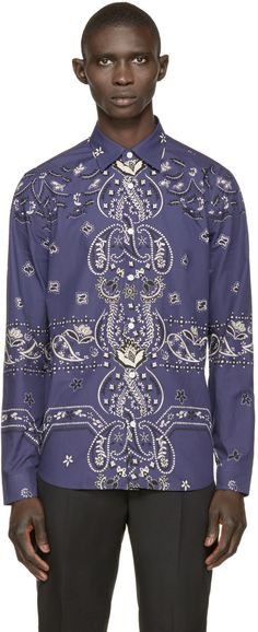 BURBERRY Purple Paisley Print Shirt. #burberry #cloth #shirt