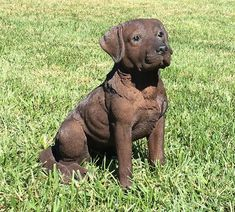 Chocolate Labrador Retriever Garden Statue