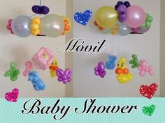 Baby mobile balloon twisting tutorial. Nice for a babyshower.