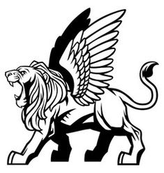Winged lion vector Ink Illustrations, Illustration Art, Lion With Wings, Lion Stencil, Persian Tattoo, Arte Dark Souls, Lion Sketch, Lion Vector, Lion Drawing