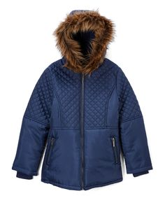 Navy Quilted Jacket - Toddler & Girls