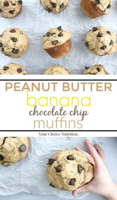 Enjoy these whole wheat Peanut Butter Banana Chocolate Chip Muffins for breakfast or as a sweet afternoon snack.  Made with whole wheat flour, each muffin has 4 grams of fiber and 7 grams of protein! | recipe via www.yourchoicenutrition.com  #yourchoicenutrition #food #recipe #healthyeating #wholewheat #healthylifestyle #dietitian #dietitianapproved #healthyrecipe #chocolatechip #peanutbutter #banana #mindfuleating #snack #intuitiveeating #thereciperedux #muffins