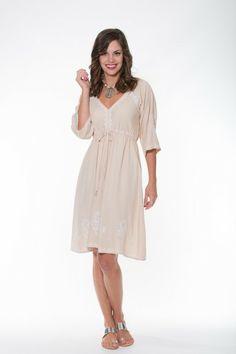 Ladli  Rani Dress Short – Beige & White