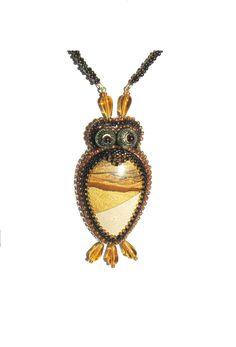 Bead embroidery pendant Wise owl  - OOAK Handmade Jewelry. $49.00, via Etsy.