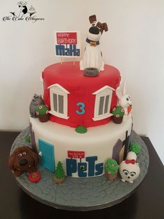 Secret Life Of Pets Birthday Cake 4th Birthday Cakes, Baby Boy 1st Birthday, Boy Birthday Parties, Birthday Celebration, Birthday Cake Card, Birthday Ideas, Happy Birthday, Dog Cakes, Cupcake Cakes