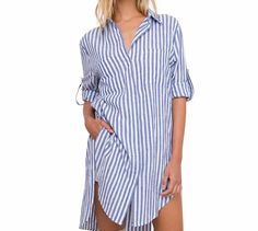 Blue Striped Extra Long Collared Shirt Blouse Dress