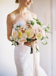 Sweet garden roses and ribbon: http://www.stylemepretty.com/2015/08/08/25-bouquets-that-will-convince-you-to-blow-your-budget-on-florals/