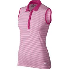 Pink and White Nike Ladies & Plus Size Victory Stripe Sleeveless Shirt, also in Assorted Colors! Find the best golf and tennis and activewear outfits at #lorisgolfshoppe