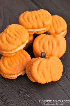 Pumpkin Macarons - recipe, tutorial, and template to make perfect pumpkin macrons!