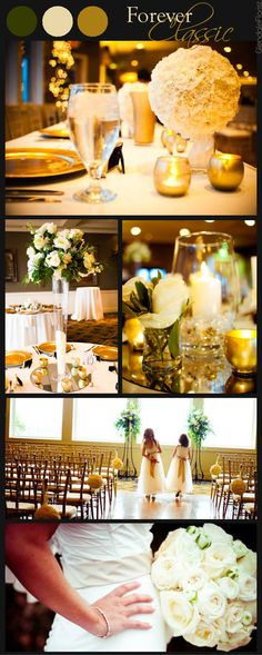 Glendale Florist | Forever Classic Wedding in Golds and Creams Color Scheme, Hanging White Flower Balls, High White Centerpieces, Large Round Rose Bridal Bouquet