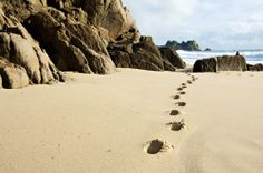 Footprints in the sand at Porthcurno beach, Cornwall #lovecornwall #porthcurno www.visitcornwall.com