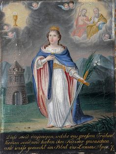 December 4 - Saint Barbara - Nobility and Analogous Traditional Elites Catholic Saints, Patron Saints, Roman Catholic, Saint Barbara, Christian Names, Bride Of Christ, Mural Painting, Pope Francis, Christianity