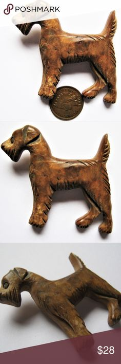 CARVED WOOD Antique BROOCH Dog Terrier 1940s *DISPLAY STAND, COIN OR RULER NOT FOR SALE. USE THEM TO JUDGE THE SIZE OF THE ITEM  COMBINED SHIPPING in USA International shipping by weight  >WE SELL VINTAGE JEWELRY! >WE SELL NOVELTY MUGS-COFFEE CUPS-STEINS >WE SELL COLLECTIBLE FOUNTAIN PENS  PAYABLE IMMEDIATELY  No returns for buyers remorse or goods claimed as not received  when tracking shows delivery to address of record on Buyers account.  No International Returns Whatsoever. Import…