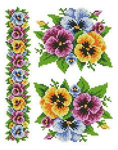 Beautiful pansies X-stitch chart Cross Stitch Bookmarks, Cross Stitch Rose, Cross Stitch Borders, Cross Stitch Flowers, Cross Stitch Designs, Cross Stitching, Cross Stitch Embroidery, Cross Stitch Patterns, Cross Stitch Pictures