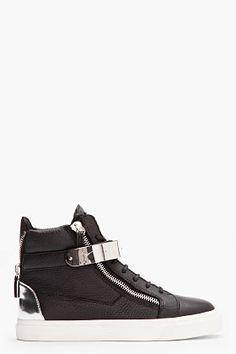 Giuseppe Zanotti Black Leather London Sneakers for men | SSENSE    I NEED THESE.