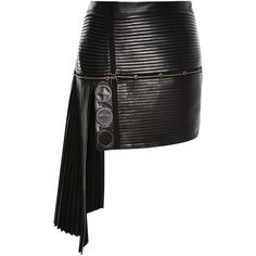Anthony Vaccarello Leather All Over Pleated Skirt ($3,300) ❤ liked on Polyvore featuring skirts, mini skirts, anthony vaccarello, black pleated mini skirt, draped skirt, leather skirt and panel skirt