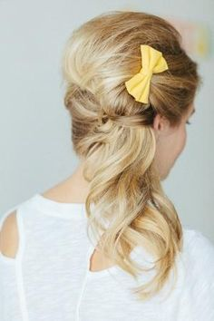 hair yellow bow - Hairstyles and Beauty Tips Wedding Hair And Makeup, Bridal Hair, Hair Makeup, Bride Hairstyles, Pretty Hairstyles, Style Hairstyle, Vintage Hairstyles, Bridesmaid Hair, Prom Hair