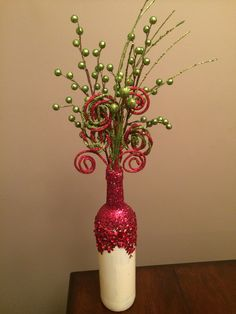 Christmas wine bottle vase