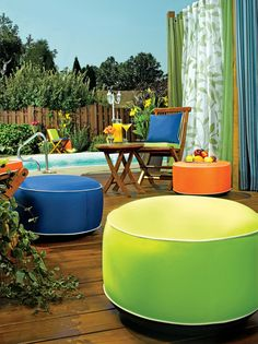 Outdoor Ottoman: Inflatable Ottoman in 6 Colors | $40, Gardeners.com