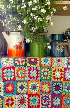 crochet, crochet blanket, granny squares, enamel