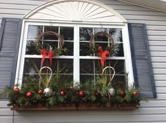 Windows decorated for Christmas