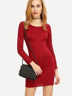 Vestido+manga+larga+entallado+-rojo+5.55