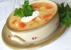 Tejfölös újkrumplileves 🍲 | Törzsök Éva receptje - Cookpad receptek Soup Recipes, Panna Cotta, Food And Drink, Pudding, Ethnic Recipes, Desserts, Yum Yum, Tailgate Desserts, Deserts