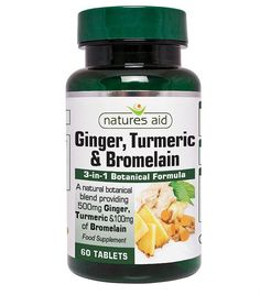 From Natures Aid Ginger Turmeric And Bromelain 60 Tablets Botanical Formula 500 Mg Ginger 500 Mg Turmeric 100 Mg Bromelain Made In The Uk Vegan Society Approved) Best Supplements, Nutritional Supplements, Ginger Vitamins, Vegan Society, Ayurvedic Herbs, Natural Yogurt, Bodybuilding Supplements, Essential Fatty Acids, Breakfast Smoothies