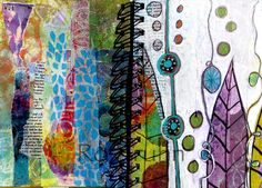 Below are some of the (Gelli) prints that we will make and then turn them into a book, collage them and build up layers of paint. We will also be gelli printing on  fabric too. Ro Bruhn, artist