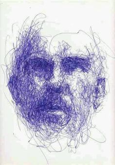 i like the way it is just a scribbly mess, but it's also a really detailed face at the same time, this would be fun to try