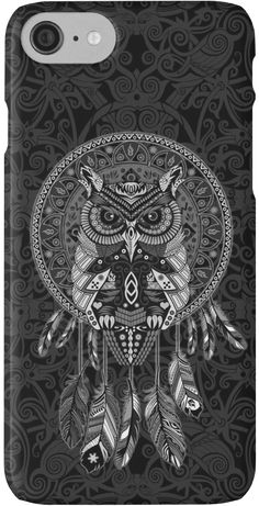 indian native Owl Dream catcher  iPhone Cases & Skins #Case #CellPhone #iPhonecase #hardcase #digital #colored #pencil #pattern #vintage #blackwhite #ravenclaw #hawk #eagle #animal #bird #tattoo #mayan #indian #americannative