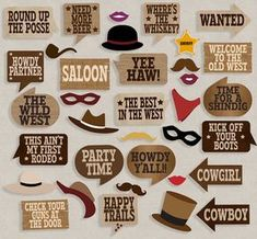 35 Cowboy party printables photo booth props, wild west party, photobooth props…