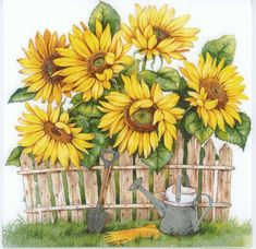 Pretty paper decoupage napkin with a garden of sunflowers and a rustic fence. Use for all your decoupage projects. Buy your decoupage supplies at Decoupage Designs USA Decoupage Glass, Paper Napkins For Decoupage, Paper Serviettes, Ostern Party, Paper Art, Paper Crafts, Sunflower Garden, Garden Drawing, Home And Deco