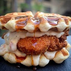 Doesn't matter if it's breakfast, lunch or dinner I'd eat it. Chicken & Waffles - Doritos crusted chicken, biscuit waffle, bacon cream gravy...