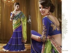 blue-neon-green-half-sari-designer