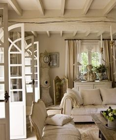 Living Room , Popular Neutral Living Room Wall Color : Neutral Living Room Wall Color French Country With Antique Clock And Statue And Wooden Ceiling