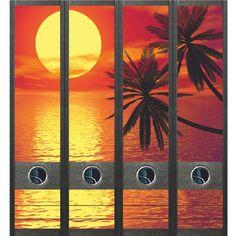 Ordneretiketten Ondergaande zon met palmen - set rugetiketten met prachtige afbeelding!