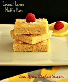 Coconut Lemon Muffin Bars with Lemon Coconut  Frosting. Grain & gluten free, with low carb options.