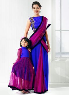 Magenta N Blue Mother Daughter Combo