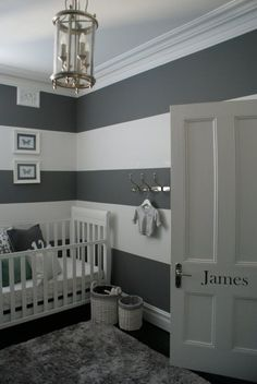 I love the grey stripe walls - good for a gender neutral nursery.