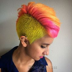 35 Short Punk Hairstyles To Rock Your Fantasy Long Pixie Hairstyles, Rock Hairstyles, Undercut Hairstyles, Undercut Pixie, Undercut Pompadour, Shaved Hairstyles, Pixie Haircuts, Pink And Orange Hair, Yellow Hair