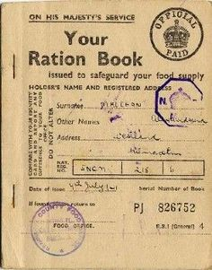 A World War Two Ration Book Gosh my Nana had these I remember her showing me. A World War Two Ration Book Gosh my Nana had these I remember her showing me. British History, World History, World War Ii, American History, Interesting History, Military History, Military Art, Wwii, College