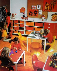 Vintage mod orange and yellow classroom interior.