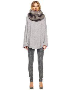 MICHAEL+Michael+Kors++Faux-Fur-Collar+Poncho+&+Cobra-Print+Skinny+Jeans.