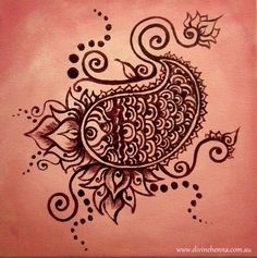 Water Baby: cute henna design inspired painting with pink background and lotus and paisley elements. $24.00, via Etsy.