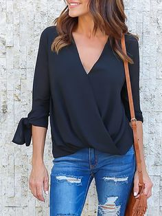 Trendy Crisscross Tied Sleeve Casual Blouse