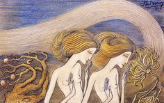 "Jan Toorop, ""Women in a Garden,"" Pencil-and-crayon Drawing, 1893."