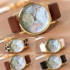 Hot World Map PU Leather Band  Round Dial Analog Quartz Women Wrist Watch Gift