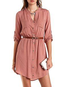 Button-Up Belted Shirt Dress, 28.99