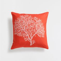Coral print cotton cushion cover